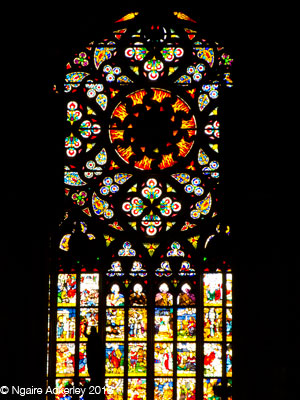 Stained glass windows inside the Duomo, Milan, Italy