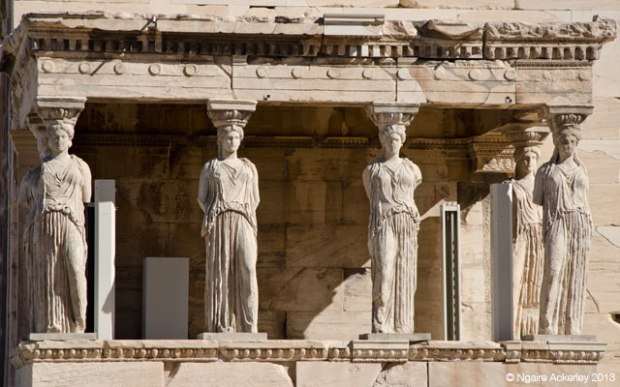Caryatids in the Erechtheion, Acropolis. Athens