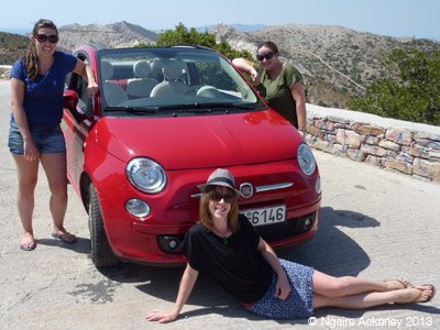 Our nifty little hire car around Naxos