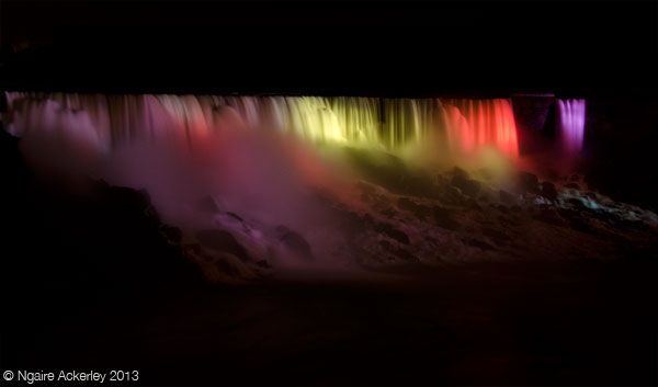 American side of Niagara Falls, at night