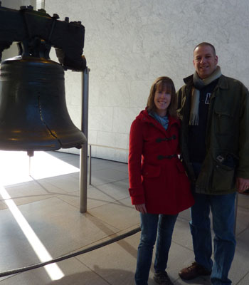 Myself and Liam in front of the Liberty Bell