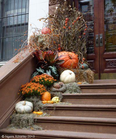 Pumpkins on a doorstep in New York