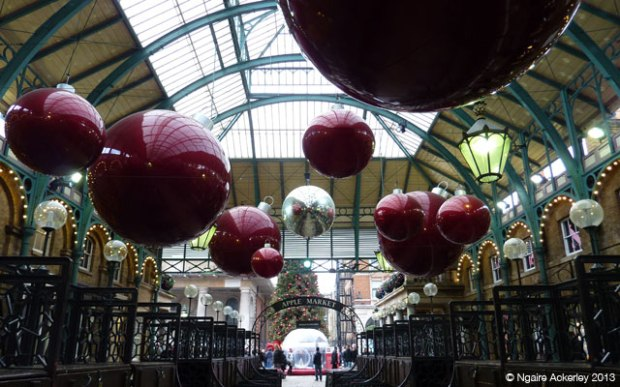 Apple Market Christmas Baubles in Covent Garden
