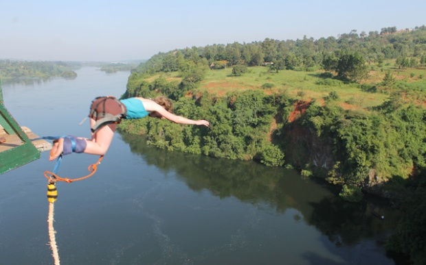 Bungy Jumping over the Nile in Jinja, Uganda
