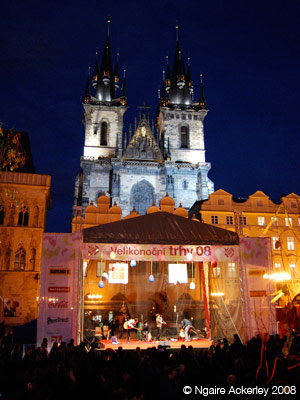 Cathedral, stage and Easter markets in Prague