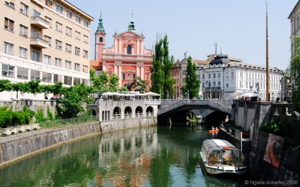 Canal running through Ljubljana, Slovenia