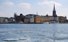 Ice breaking apart in a lake in Stockholm, Sweden