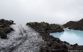 Blue Lagoon waters in Reykjavik, Iceland.