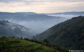 Misty Valley near Lake Bunyonyi in Uganda
