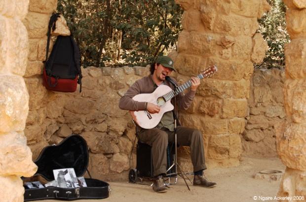 Musician in Park Güell, Barcelona, Spain