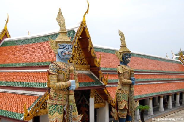 Some scary fellows guarding a temple in Bangkok, Thailand