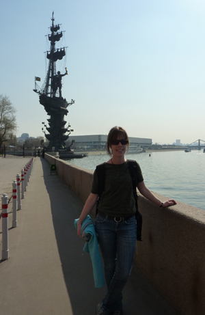 Standing in front of the gigantic statue of the 'now' Peter the Great
