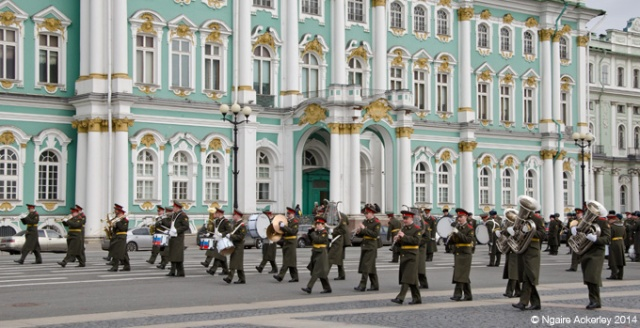 Military Band outside the Winter Palace, Saint Petersburg, Russia