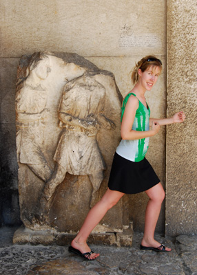 Me 'trying' to be a Roman warrior in Pula, 2008