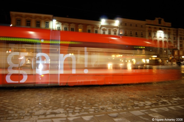 Night tram in Linz, Austria, near where I studied in Hagenburg