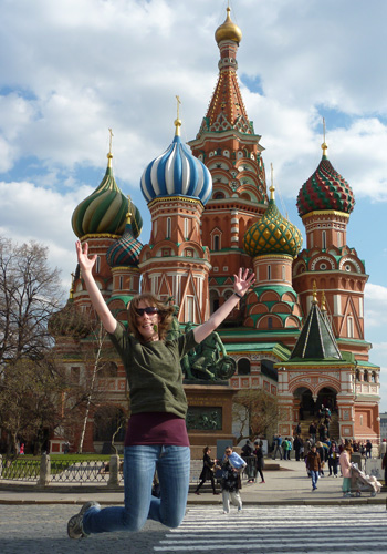 Ngaire outside Saint Basil's Cathedral