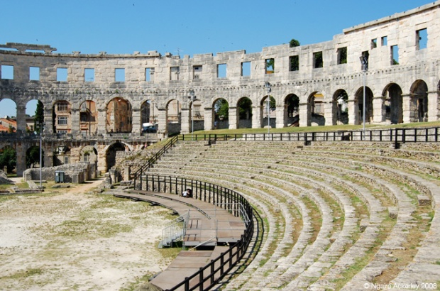 Inside Pula Arena - an amphitheater in Pula, Croatia