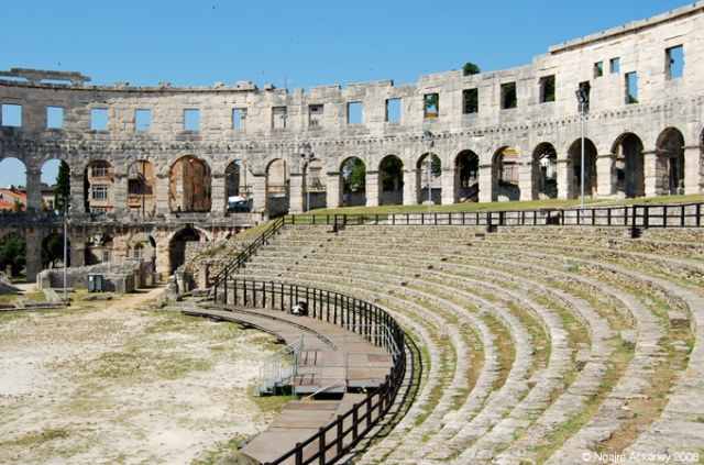 Inside Pula Arena - an amphitheater in Pula, Croatia