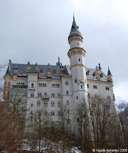 Neuschwanstein Castle, not quite in all its stunning glory in winter. Not much snow near here.