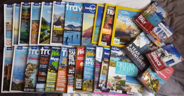 travel magazines, books, guides