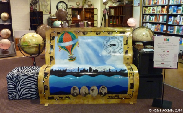Around the World in Eighty Days Bookbench, created by Valerie Osment