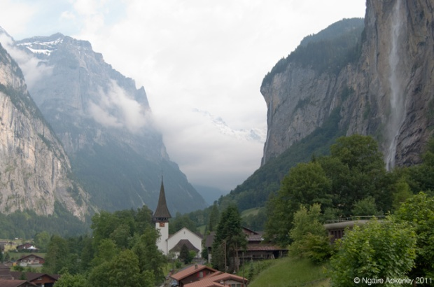 Valley with waterfall, Lauterbrunnen, Switzerland
