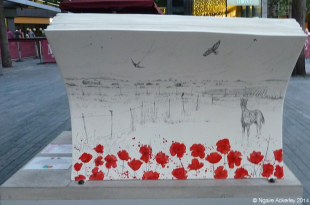 Warhorse Bookbench (back). Rae Smith (original illustration) Created by Gerard Strong