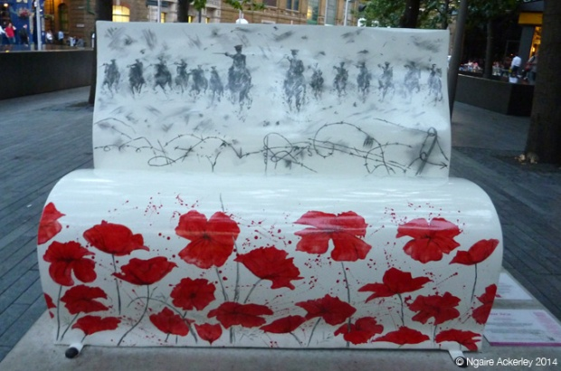 Warhorse Bookbench. Rae Smith (original illustration) Created by Gerard Strong