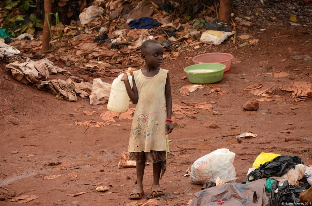 Child on roadside in Kampala, Uganda
