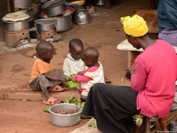 Roadside cooking, Uganda
