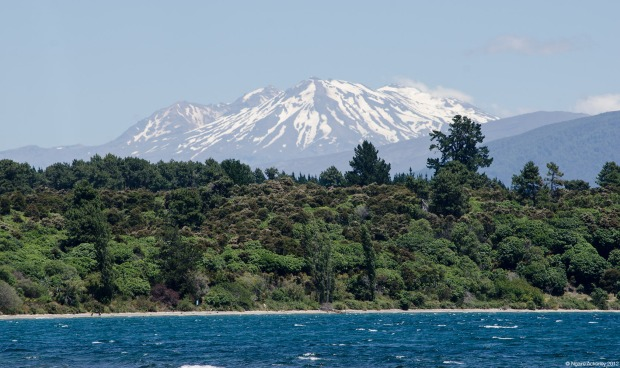 Snow capped mountains behind Lake Taupo