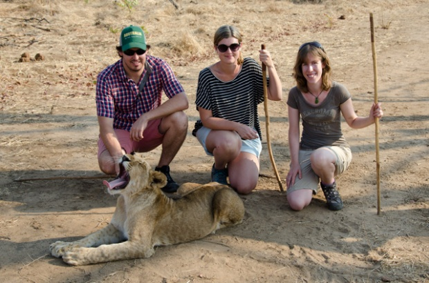 Cam, Emma and I with a 9 month old lion