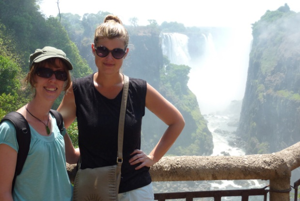 My friend Emma and I at Victoria Falls
