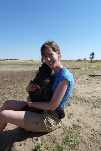 Me with Bobby, the big baby baboon