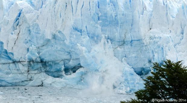 Ice falling from Perito Moreno Glacier, Santa Cruz, Argentina