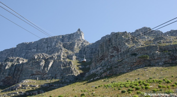 View going up Table Mountain on the cable car