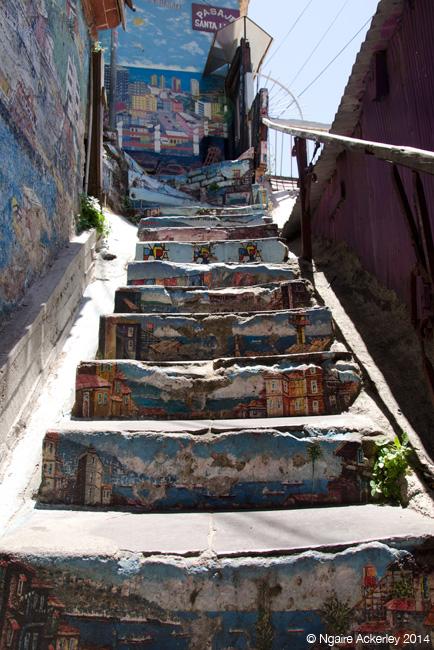 Mural stairs in Valparaiso