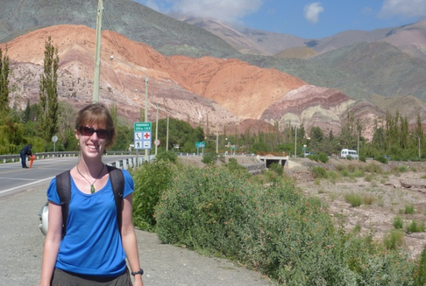 Me awed by the colourful mountains