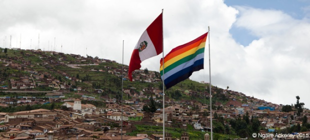 Peru and Andes flags in Cusco