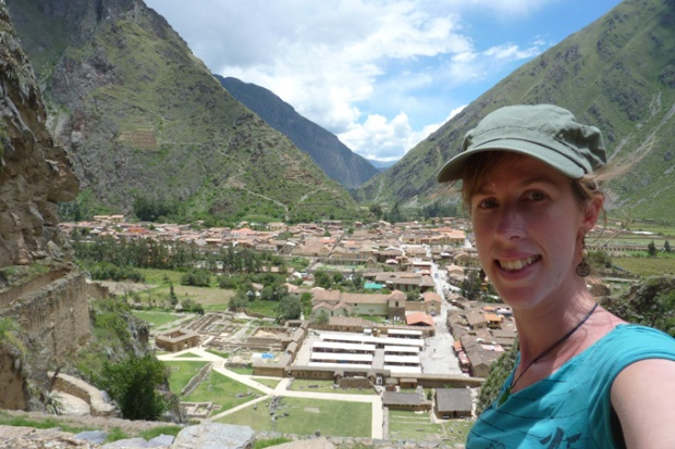 View over the city from the Ollantaytambo ruins