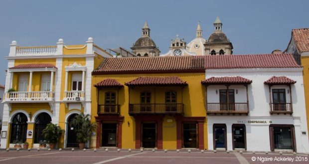 Plaza with colourful buildings in Cartagena