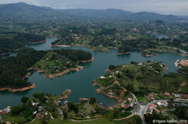 View over Guatape region from La Piedra del Penol