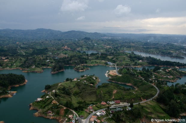 View over Guatape region from La Piedra del Penol