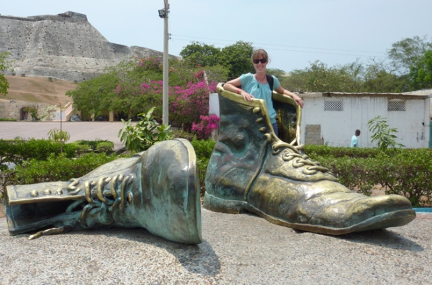Me in the 'Old Boots' Sculpture, Cartagena