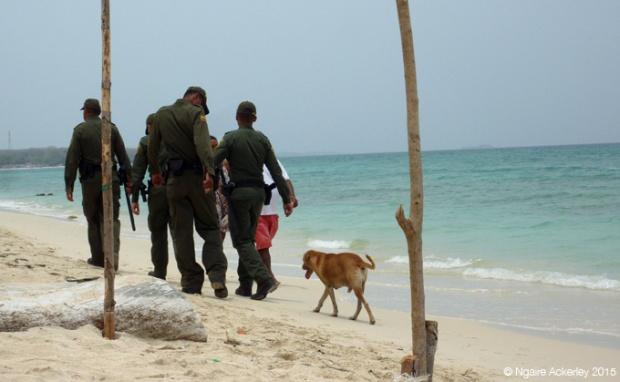 Police/Army on Playa Blanca Beach