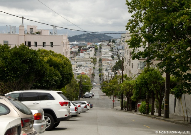 One of the steep streets leading to Lombard Street