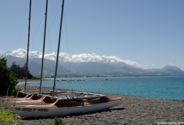 Boats on Kaikoura beach, NZ