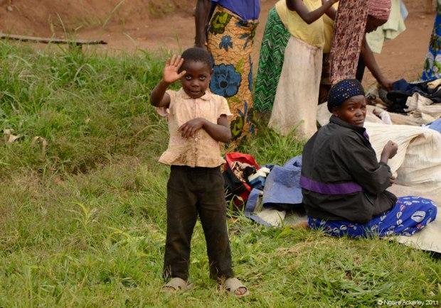 Waving on the roadside, Kenya