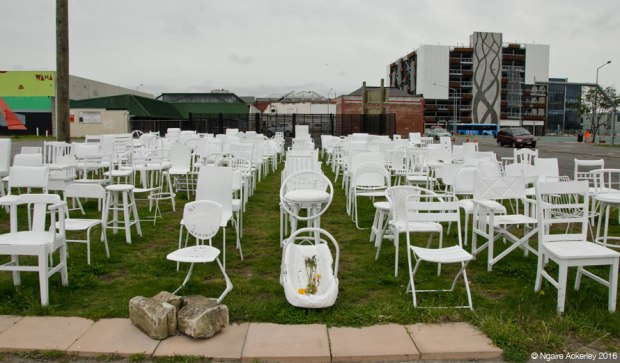 185 white chairs pay tribute to earthquake victims