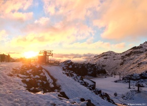 Whakapapa Skifield - Happy Valley at sunset